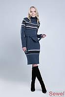 Теплое вязаное платье зимнее