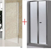 Дверь bifold 90*185 хром прозрачная+Боковая стенка Eger 599-163-90W 90 см