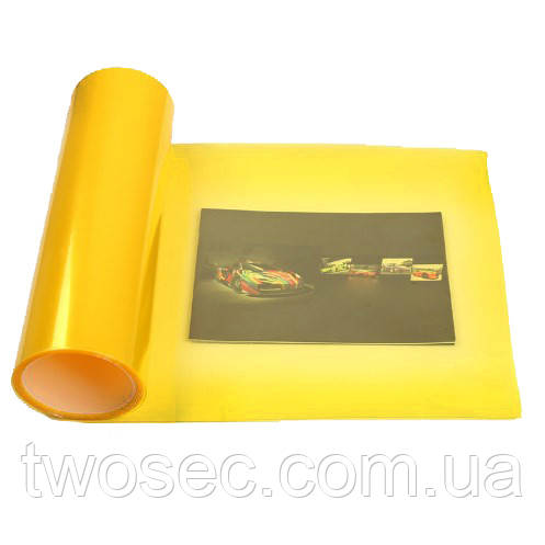 Тонировочная пленка желтая на авто защитная для тонировки фар самоклеющаяся (30х100, 1 метр) желтого цвета