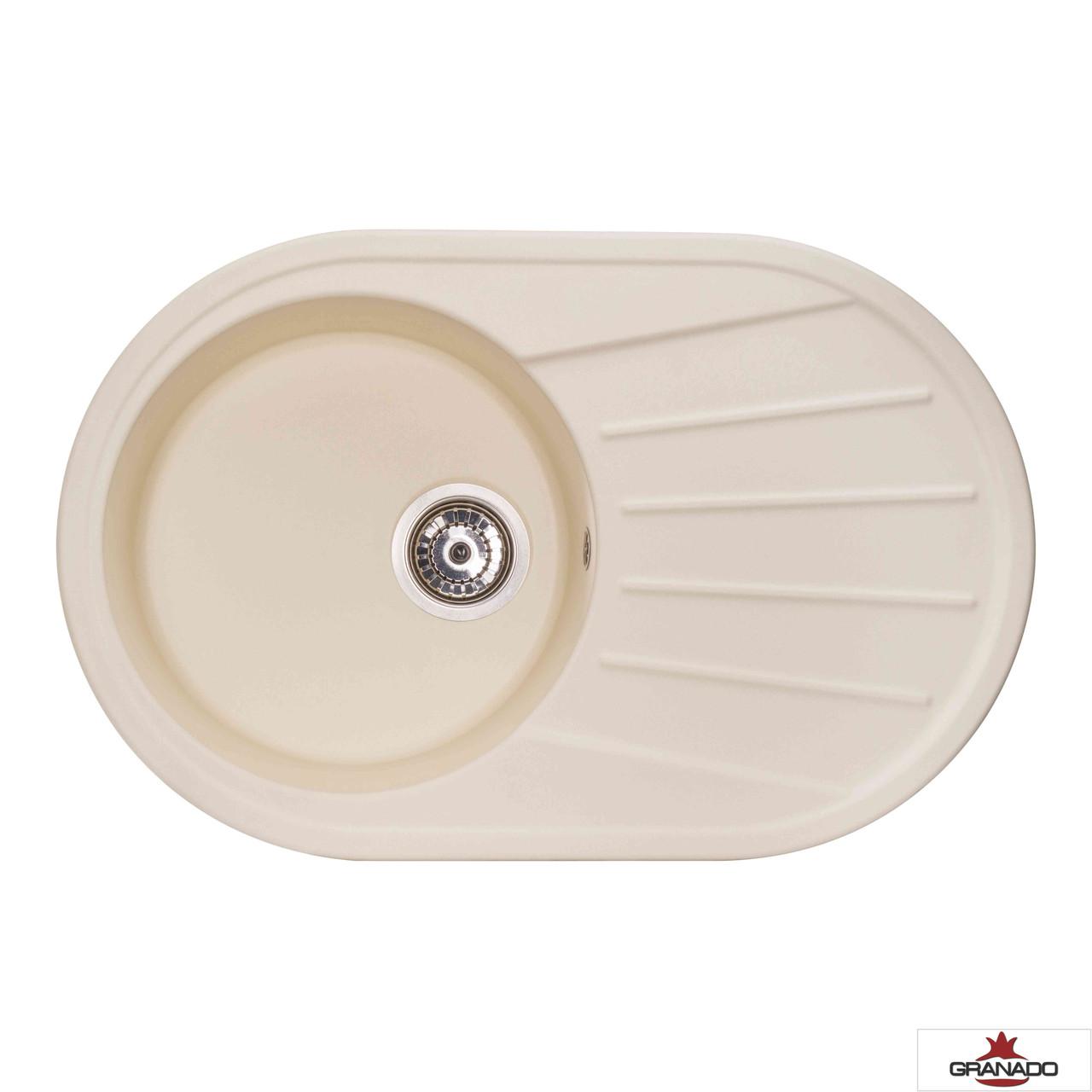 Кухонная мойка c одной чашей и крылом Murcia овальной формы цвет Ivory из гранита от производителя Granado