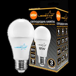 Светодиодная лампа LEDSTAR, 12W, E27, A60, 1020lm, груша, 4000К, матовая