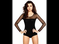 Блузка боди, трикотаж + сеточка, красивая блузка боди для женщин. Цвет черный, все размеры.