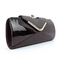 Вечерний лаковый клатч женский черный овальный, фото 1