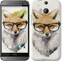 "Чехол на HTC One M8 dual sim Лис в очках ""2707c-55"""