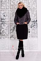 """Пальто """"Мальта кр букле песец зима"""" Чёрно-серый / Черный XXL"""