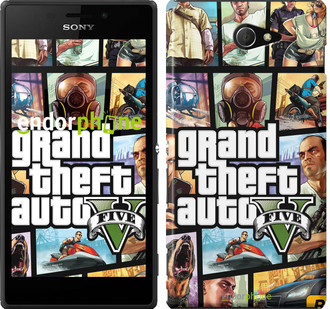 "Чехол на Sony Xperia M2 D2305 GTA 5. Collage ""630c-60"""