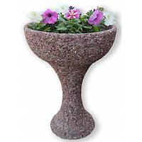 """Вазон садовый для цветов """"Глория"""" бетонный  Мрамор серый"""