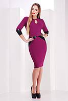 Стильное женское платье миди с кожаными элементами