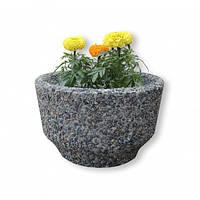 Вазон садовый уличный «Фиеста» бетонный Гранит серый