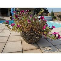 Вазон садовый уличный «Фиеста» бетонный Гранит красно-серый
