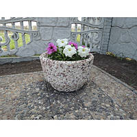 Вазон садовый уличный «Фиеста» бетонный Базальт черный