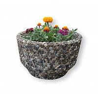 Вазон садовый уличный «Фиеста» бетонный Мрамор кремовый