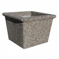 Вазон садовый уличный «Сити» бетонный Мрамор кремовый