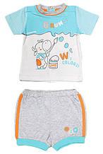 Верх лето комплект из 2-х ед песочник корова рисует полосат рукав мал. белый с голуб 100%хлопок 132BBEM004 BRU
