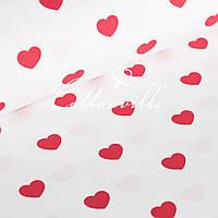Бязь Сердечки красные на белом (30 мм) (остаток 1.25 мп), фото 1