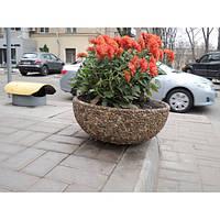 Вазон садовый уличный «Чаша» бетонный Гранит красно-серый