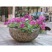 Вазон садовый уличный «Чаша» бетонный Галька коричневая