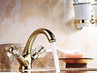 Смеситель в ванную комнату для умывальника двух рычажный золото 0105, фото 1