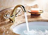 Смеситель в ванную комнату для умывальника двух рычажный золото 0105, фото 2