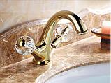 Смеситель в ванную комнату для умывальника двух рычажный золото 0105, фото 3