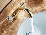 Смеситель в ванную комнату для умывальника двух рычажный золото 0105, фото 4