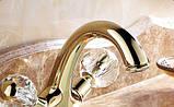 Смеситель в ванную комнату для умывальника двух рычажный золото 0105, фото 5