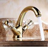 Смеситель в ванную комнату для умывальника двух рычажный золото 0105, фото 6
