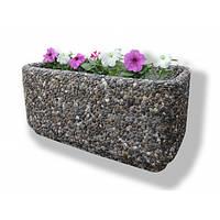 Вазон садовый уличный «Атлант» бетонный Мрамор кремовый