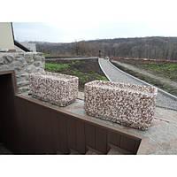 Вазон садовый уличный «Атлант» бетонный Гранит красно-серый