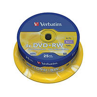 Диски VERBATIM DVD+RW 4.7Gb 4x Cake box 25