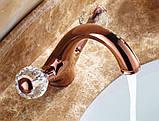 Смеситель кран в ванную комнату для умывальника однорычажный розовое золото, фото 2