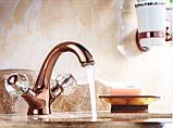 Смеситель кран в ванную комнату для умывальника однорычажный розовое золото, фото 3