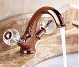 Смеситель кран в ванную комнату для умывальника однорычажный розовое золото, фото 6