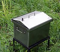 Коптильня для горячего копчения крышка Домиком 400х300х310