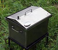 """Коптильня для горячего копчения крышка """"Домиком"""" с термометром 400х300х310"""