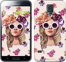 "Чехол на Samsung Galaxy S5 Duos SM G900FD Девушка с цветами v2 ""3569c-62"""