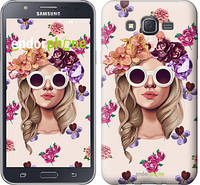 "Чехол на Samsung Galaxy J7 J700H Девушка с цветами v2 ""3569c-101"""