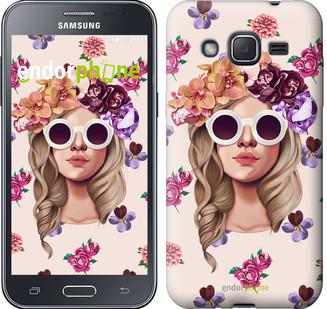 "Чехол на Samsung Galaxy J2 J200H Девушка с цветами v2 ""3569c-190"""