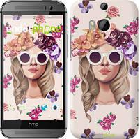 """Чохол на HTC One M8 Дівчина з квітами v2 """"3569c-30"""""""