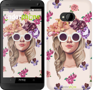 """Чехол на HTC One M7 Девушка с цветами v2 """"3569c-36"""""""