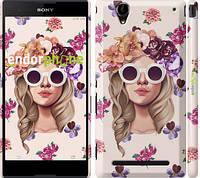 """Чехол на Sony Xperia T2 Ultra Dual D5322 Девушка с цветами v2 """"3569c-92"""""""