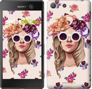 "Чехол на Sony Xperia M5 Девушка с цветами v2 ""3569u-217"""