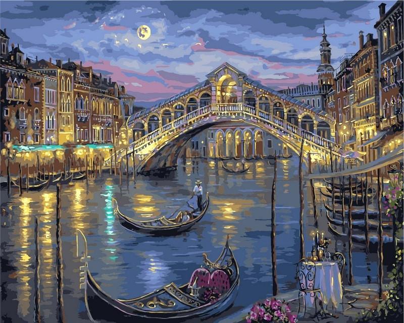 Рисование по номерам 50×65 см. Прошлой ночью на Гранд-канале Венеции Художник Роберт Файнэл