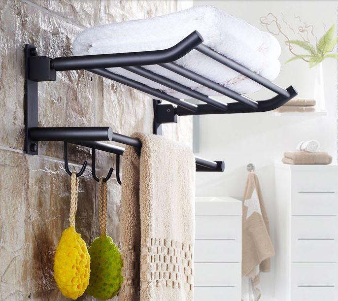 Полка в ванную черная с вешалкой и откидным верхом