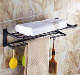 Полка в ванную черная с вешалкой и откидным верхом, фото 3