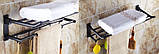 Полка в ванную черная с вешалкой и откидным верхом, фото 4