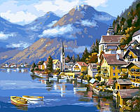 Рисование по номерам 40×50 см. Альпийская деревня Художник Сунг Ким