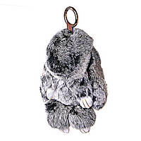 Брелок  Кролик нат. мех серый малый 12 см