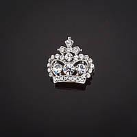 """Брошь Корона царская с крестом белые  стразы цвет металла """"серебро"""" 2х2см"""