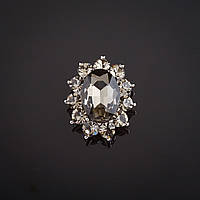 """Брошь Маркиз дымчатый кристалл, стразы  цвет металла """"серебро"""" 2,9х2,4см"""
